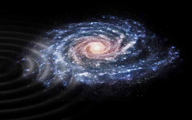 Vue d'artiste représentant la perturbation du disque de la Voie lactée, à la suite du passage d'une galaxie naine.ESA/CC BY-SA 3.0 IGO
