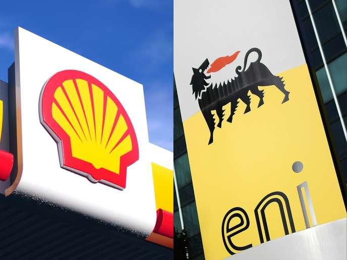 Les logos du géant anglo-néerlandais Shell(à gauche) et du groupe pétrolier italien ENI.
