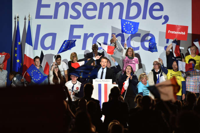 Le candidat Emmanuel Macron pendant la campagne présidentielle, le 26 avril 2017 à Arras (Pas-de-Calais).