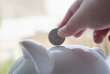 Cropped view of hand inserting coin into piggybank