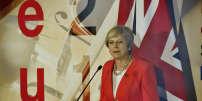 Theresa May, la première ministre britannique, lors d'une conférence de preesse à l'issue du sommet de Salzbourg (Autriche) qui a réuni les 28, jeudi 20 septembre.
