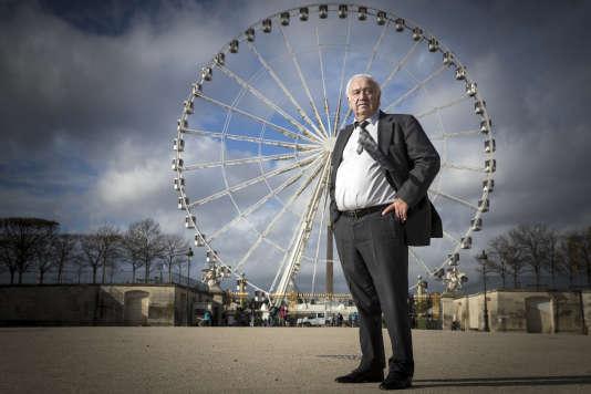 Marcel Campion devant la grande roue du jardin des Tuileries, à Paris, ennovembre2017.
