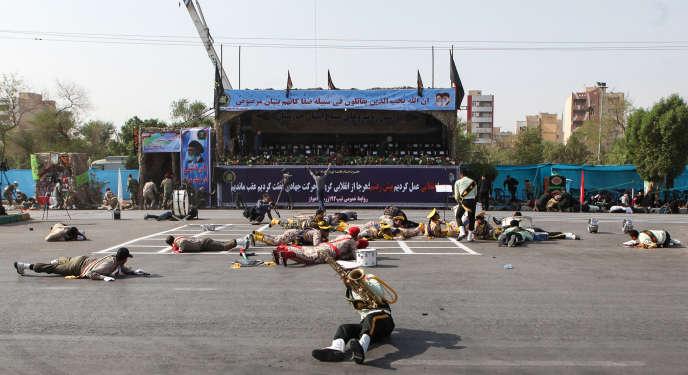 Pendant l'attaque du défilé militaire d'Ahvaz, samedi 22 septembre.