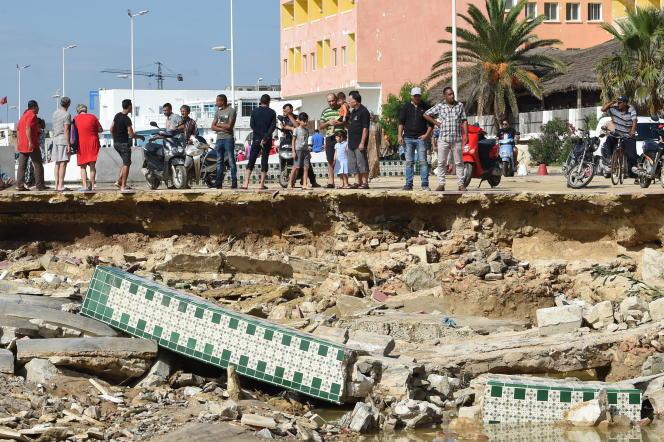 Après l'effondrement d'un pont àBir Challouf, dans la banlieue de Nabeul, le 23septembre 2018. La région a subi de violentes précipitations.