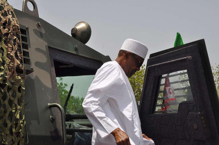 Le président nigérian, Muhammadu Buhari, à Maiduguri le 6 juillet 2018.