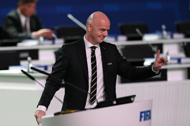 Le projet correspond à une volonté exprimée par Gianni Infantino – ici le 13 juin 2018 à Moscou –, le président de la FIFA.