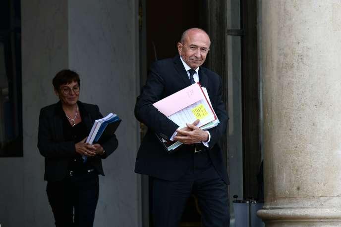 Le ministre de l'intérieur, Gérard Collomb, à la sortie du conseil des ministres, le24septembre 2018.