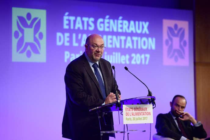 Stéphane Travert, le ministre de l'agriculture, lors des Etats généraux de l'alimentation, à Paris, le 20 juillet 2017.