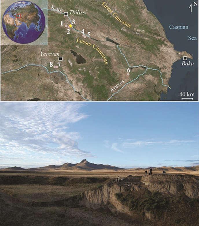 Localisation et vue générale du site de Gadachrili Gora. Les différents sites néolithiques régionaux sont mentionnés: 1 : Aruchlo ; 2 : Shulaveri Gora ; 3 : Gadachrili Gora ; 4 : Goy Tepe ; 5 : Mentesh Tepe ; 6 : Kamil Tepe ; 7 : Aratashen ; 8 : Aknashen.