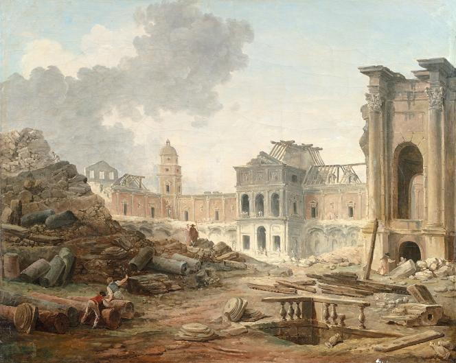 «Esquisse terminée de la démolition du château de Meudon», par Hubert Robert (1804).