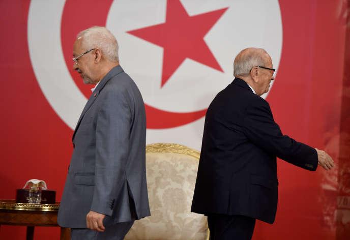 Le président tunisien, Béji Caïd Essebsi, et le dirigeant du parti Ennahda,Rached Ghannouchi, en juillet 2016 au palais de Carthage, près de Tunis.