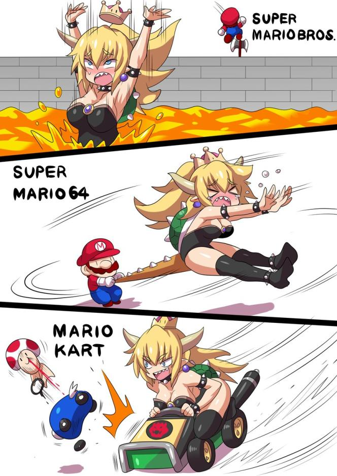 La série Mario revisitée par l'artiste @tohirokonno, avec Bowsette à la place de Bowser.