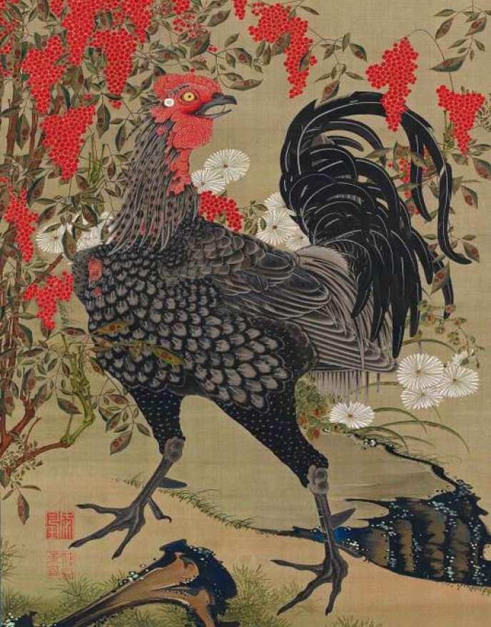«Nandina et coq» (1765), d'Ito Jakuchu, Tokyo, Musée des collections impériales.