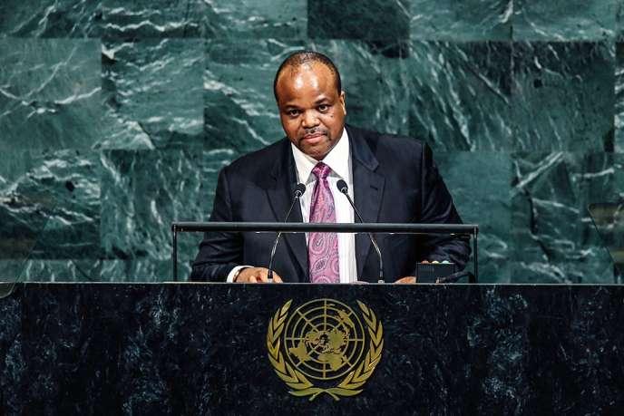 Mswati III lors d'un discours devant l'assemblée des Nations unies, à New York, le 20 septembre 2017.