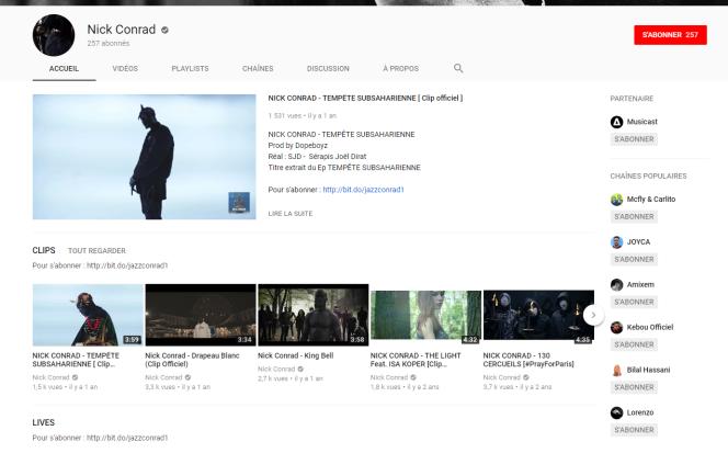 Capture d'écran de la chaîne Youtube du rappeur. La plupart de ses vidéos font des scores d'audience très faibles.