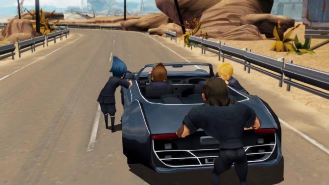 De «FFXV», on retrouve les personnages, la trame principale et le squelette du jeu, mais la contemplation, la liberté d'exploration et l'ampleur ont disparu.