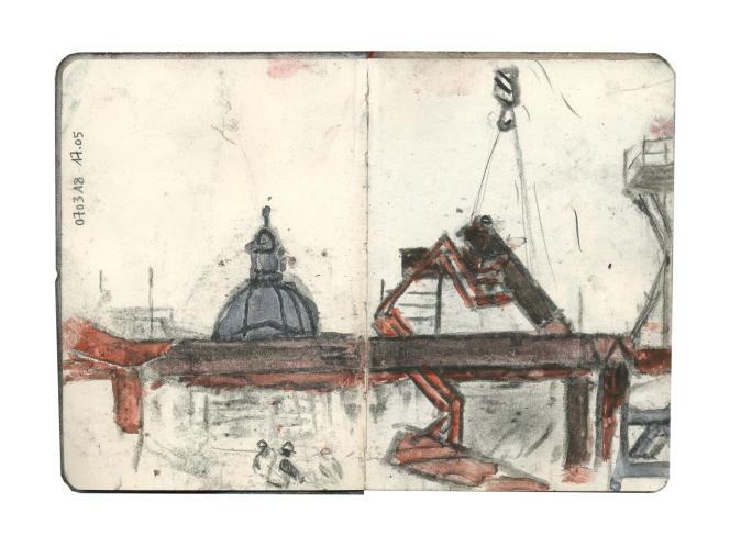 07/03/18, 17h05 © Frédéric Chaume 2018 Série Le Monde Austerlitz, Paris 13è, France Fusain, pierre noire & aquarelle sur papier Dim. L.21 x H.14,5 cm