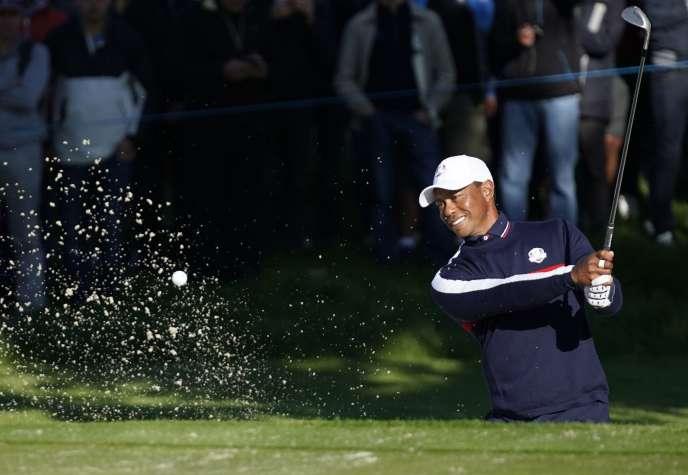 Tiger Woods, à l'entraînement au Golf national de Guyancourt (Yvelines), mardi 25 septembre.