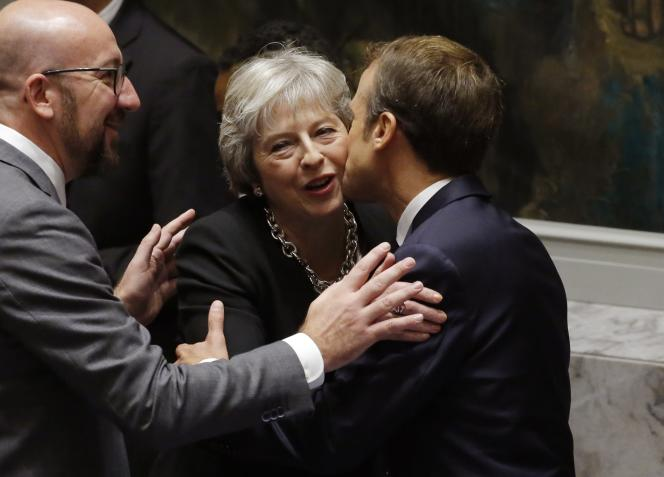 Theresa May et Emmanuel Macron lors de l'Assemblée générale des Nations unies, le 26 septembre à New York.