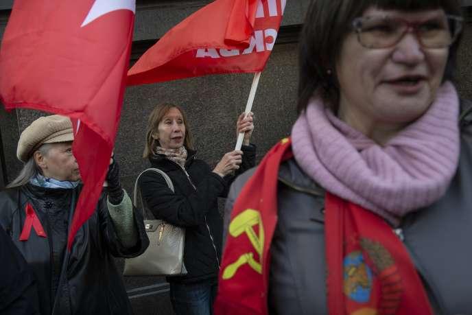 Manifestation contre la réforme des retraites à Moscou, mercredi 26 septembre.
