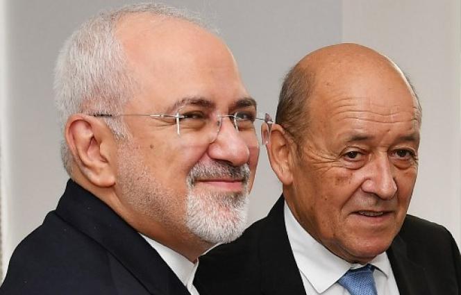 Mohammad Javad Zarif, le ministre iranien des affaires étrangères et Jean-Yves Le Drian, ministre de l'Europe et des affaires étrangères,le 24 septembre à l'ONU.