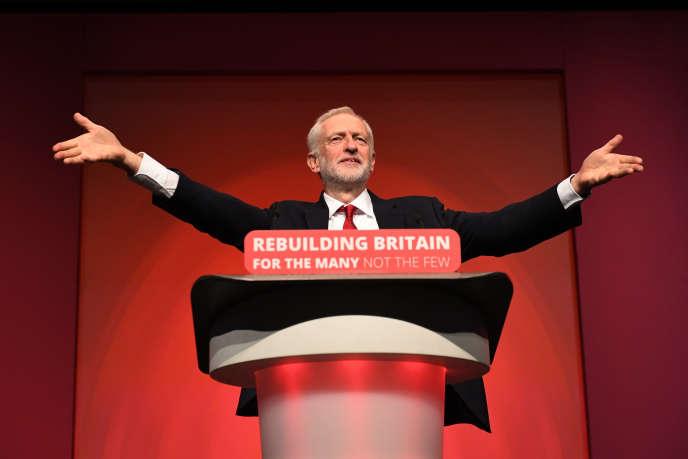 Jeremy Corbyn, leader du Labour, lors du congrès du parti travailliste, à Liverpool, le 26 septembre.
