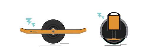 A gauche, un hoverboard, sorte de skate électrique à une seule roue, à droite, une mono-roue (ou gyro-roue).