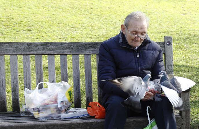 Un homme nourrit des pigeons à Londres, le 8 mars 2012.