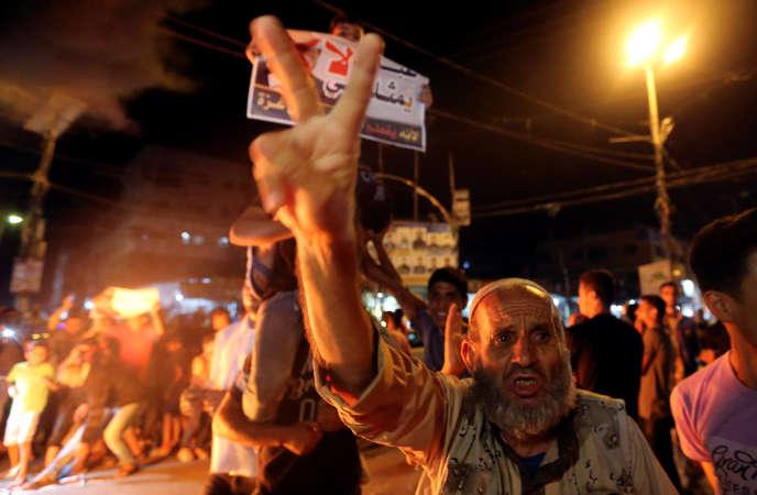 Manifestation hostile àMahmoud Abbas, à Rafah, dans la bande de Gaza, le 27 septembre.