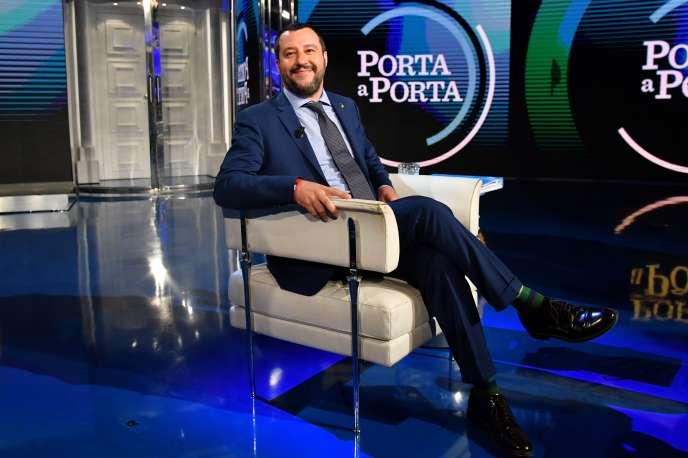 Matteo Salvini, ministre de l'intérieur et leader de la Ligue (extrême droite), sur le plateau de l'émission