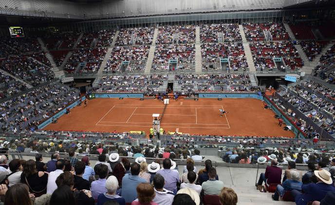 Lors de la demi-finale opposant Kevin Anderson à Dominic Thiem, le 12 mai lors du Masters 1000 de Madrid.