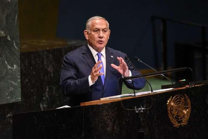 Benyamin Nétanyahou devant l'Assemblée générale des Nations unies, le 27 septembre 2018.