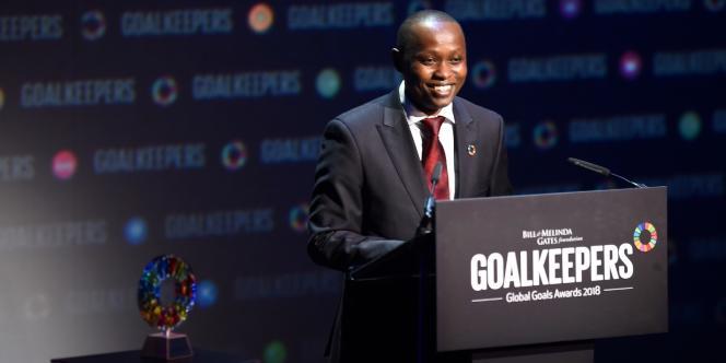 Dysmus Kisilu, le fondateur de l'entreprise Solar Freeze, à New York le 26 septembre.
