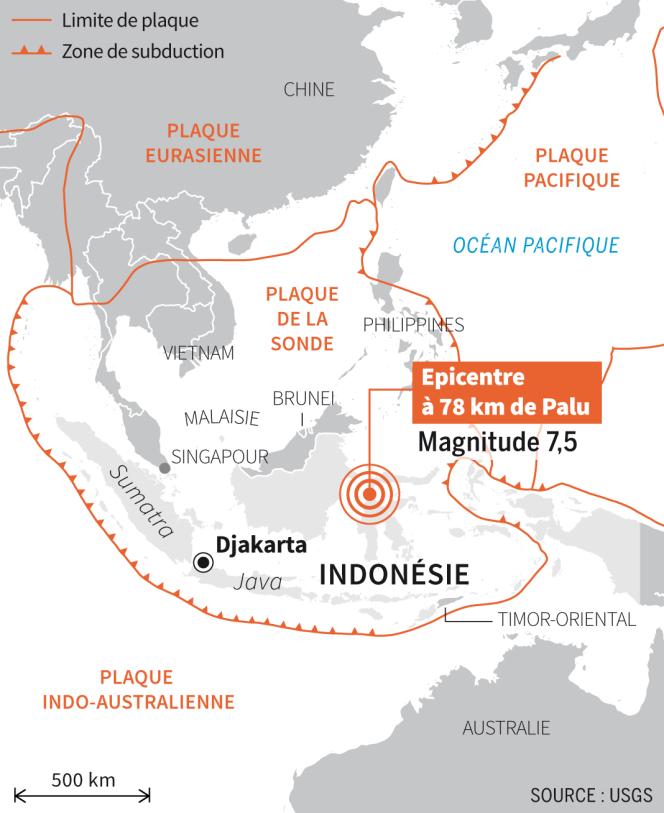 L'épicentre du séisme, de magnitude 7,5, est situé à 78 km de Palu.