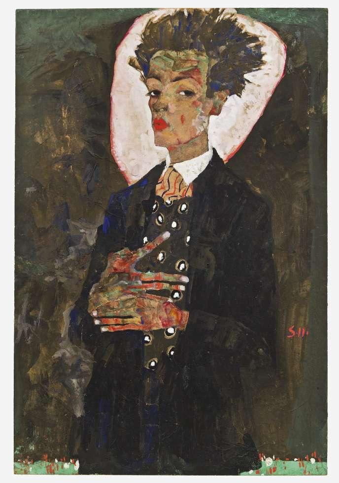 Egon Schiele, « Autoportrait debout avec un gilet au motif paon », 1911.
