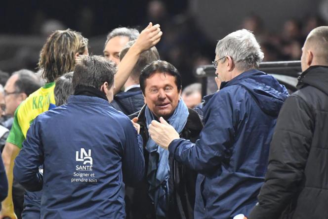Le président du FC Nantes, Waldemar Kita, célèbre une victoire de son équipe contre Guingamp, le 27 janvier.