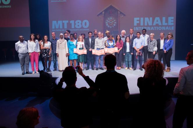 Les participants de la finale internationale de Ma thèse en 180 secondes, jeudi 27 septembre à Lausanne.