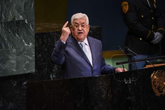 Le président de l'Autorité palestinienne, Mahmoud Abbas, lors de son discours devant l'Assemblée générale de l'ONU, à New York, le 27 septembre.