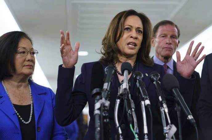 La sénatrice démocrate Kamala Harris s'est opposée à la nomination du juge Brett Kavanaugh, accuséd'agression sexuelle, à la Cour suprême aux Etats-Unis.