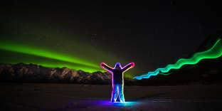Une aurore boréale en Alaska.