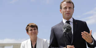 French President Emmanuel Macron (R) speaks next to Overseas Minister Annick Girardin (L) after landing at at Remy de Haenen airport on the Caribbean island of Saint Barthelemy, France September 28, 2018. Thomas Samson/Pool via REUTERS