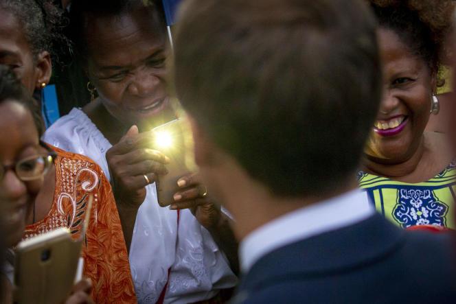 Emmanuel Macron, à Goyave, (Guadeloupe), le 28 septembre.