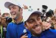 Europe's Italian golfer Francesco Molinari (L) celebrates with Europe's Spanish golfer Jon Rahm after Europe won the 42nd Ryder Cup at Le Golf National Course at Saint-Quentin-en-Yvelines, south-west of Paris, on September 30, 2018. / AFP / FRANCK FIFE