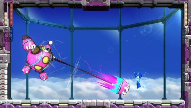 Megaman en train d'esquiver un fulguro-point rose fluo dans« Megaman 11».