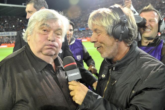 Laurent Paganelli interroge le président du club de Montpellier, Louis Nicollin, le 13 mai 2012