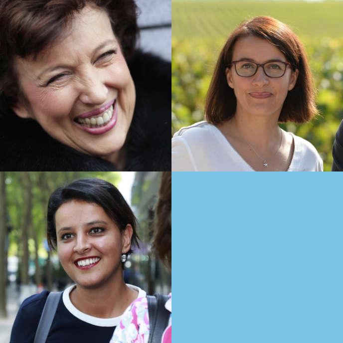 Roselyne Bachelot,Cécile Duflot etNajat Vallaud-Belkacem.