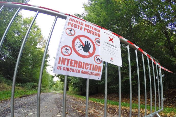 En Belgique, à Saint-Léger, le 22 septembre, la zone de quarantaine mise en place après la découverte de sangliers morts de la peste porcine.
