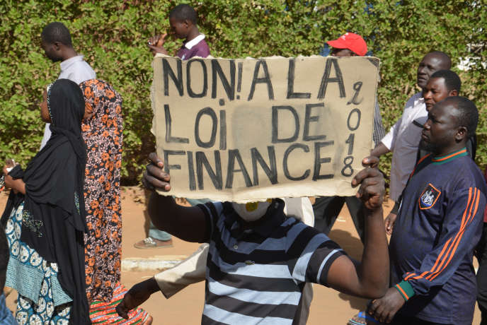 Manifestation contre la loi de finances 2018 à Niamey, capitale du Niger, en janvier2018.