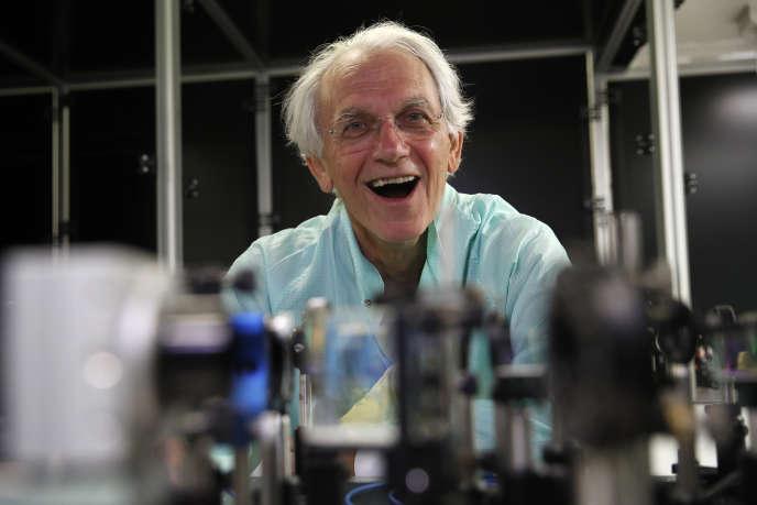 Gérard Mourou, Prix Nobel de physique 2018, dans son laboratoire de l'Ecole polytechnique, à Palaiseau (Essonne), enoctobre2018.