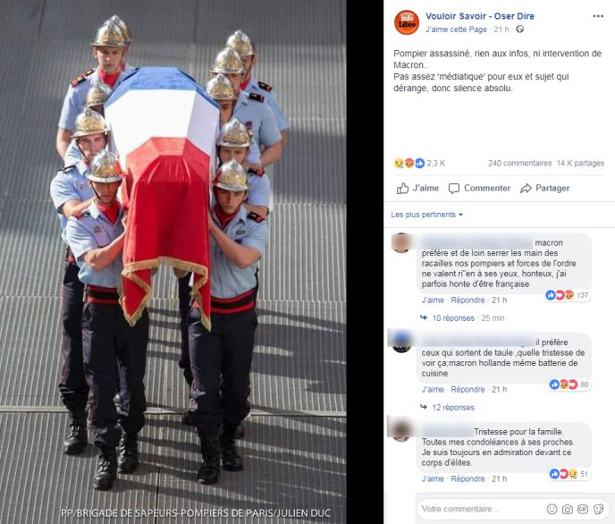 Cette publication de la page Facebook«Vouloir Savoir – Oser Dire»du 1er octobre 2018 affirme, sans plus de précisions, qu'un pompier aurait été assassiné dans l'indifférence générale.